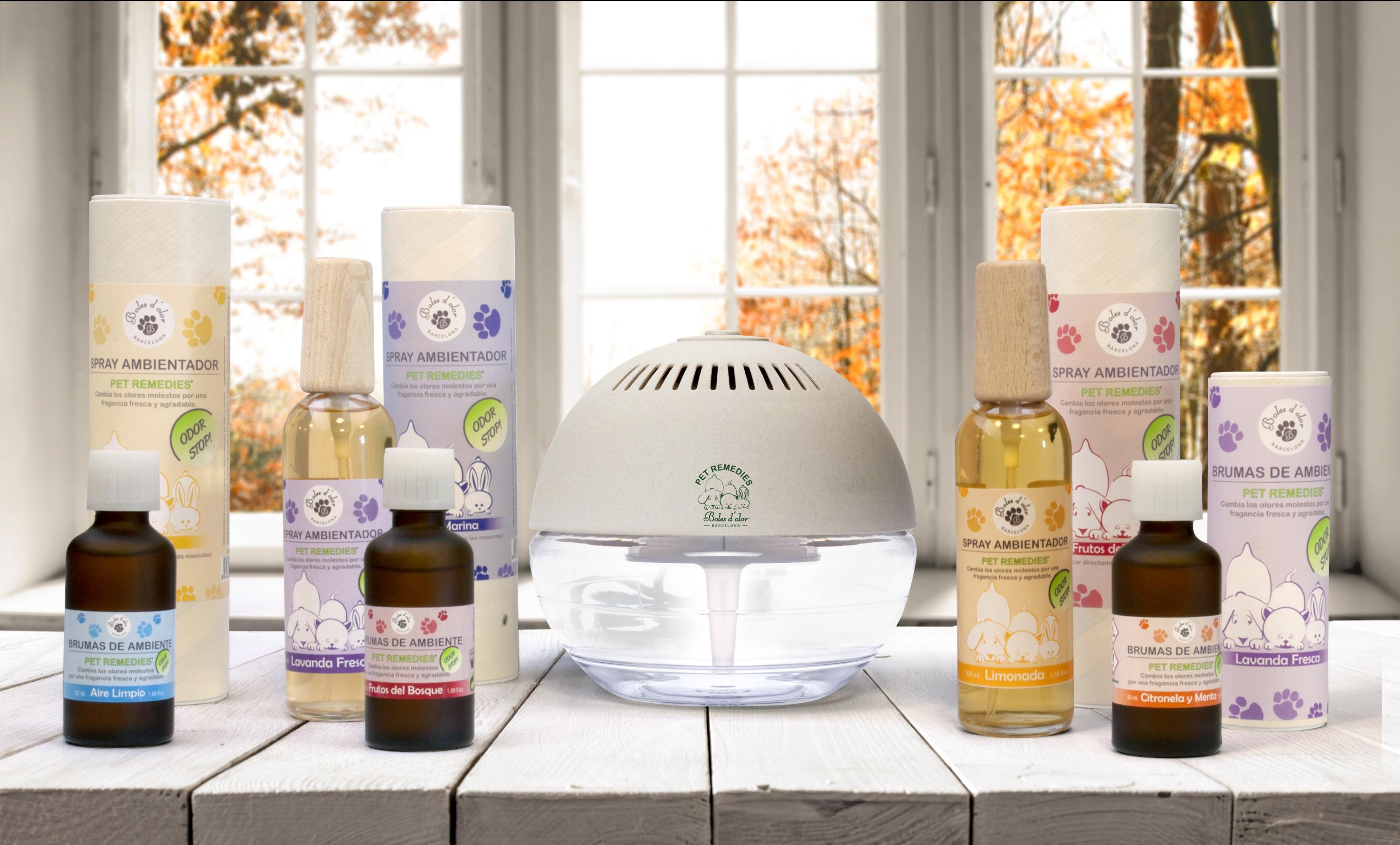 Imagen de grupo de toda la gama de productos Pet Remedies de Boles d'olor.